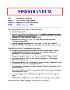 Memorandum for Candidates - 2019 Spring Election - Village
